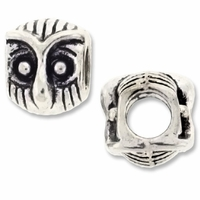 MIOVI™ Silver Plated Large Hole 10mm Owl Bead (1PC)