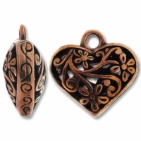 Antiqued Copper 20mm Filigree Heart Charm