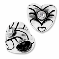 MIOVI™ Silver Plated Large Hole 8mm Heart with Crystal Beads (1PC)