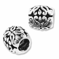 MIOVI™ Silver Plated Large Hole 9x8mm Decorative Oval Beads (1PC)