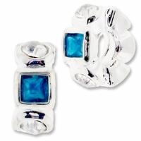 MIOVI™ Silver Plated Large Hole 11x5mm Fancy Rondel Crystal/Blue Zircon Beads (1PC)