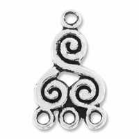 Antiqued Silver 1-3 Scroll Link (1PC)