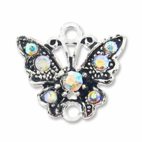 Antiqued Silver 17mm Crystal AB Rhinestone Butterfly Link (1PC)