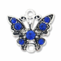 Antiqued Silver 17mm Cobalt Rhinestone Butterfly Link (1PC)