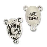 Antiqued Silver Ave Maria Rosary Center Link (10PK)