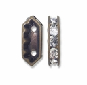 Antiqued Brass  15x6.5x4mm Rhinestone Bridge Spacer Bead, Crystal, 2 Strand (5PK)