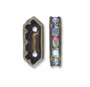 Antiqued Brass  15x6.5x4mm Rhinestone Bridge Spacer Bead, Crystal AB, 2 Strand (5PK)