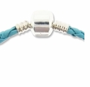 7.5 Inch Turquoise Braided Leather Bracelet with SP Snap Clasp (1PC)