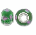 MIOVI™ Lampwork Large Hole Beads w/SP Grommets 14x9mm Green/Pink Swirl Design (6PK)
