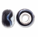 MIOVI™ Lampwork Large Hole Beads w/SP Grommets 14x9mm Black/Wht/Blue Swirl Design (6PK)