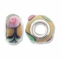 MIOVI™ Lampwork Large Hole Beads w/SP Grommets 14x9mm Beige/Pink Floral Design (6PK)