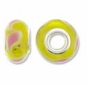 MIOVI™ Lampwork Large Hole Beads w/SP Grommets 14x9mm Yellow/Pink Leaf Design (6PK)