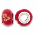 MIOVI™ Lampwork Large Hole Beads w/SP Grommets 14x9mm Red/Beige Floral Design (6PK)