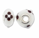 MIOVI™ Lampwork Large Hole Beads w/SP Grommets 14x9mm White/Brown Floral Design (6PK)