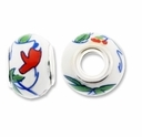 MIOVI™ Porcelain Large Hole Beads w/SP Grommets 14x9mm Garden Flowers Porcelain Rondelle Large Hole Beads (6PK)