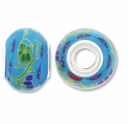MIOVI™ Porcelain Large Hole Beads w/SP Grommets 15x11mm Floral Pattern Blue Porcelain Rondelle Large Hole Beads (6PK)