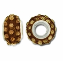 MIOVI™ Rhinestone Beads 15x9mm Large Hole Lt. Col Topaz Rhinestone Brown Resin Rondelles (1PC)