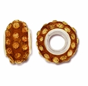 MIOVI™ Rhinestone Beads 15x9mm Large Hole Topaz Rhinestone Topaz Resin Rondelles (1PC)