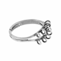 Antiqued Silver 17mm Adjustable Ring (1PC)