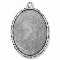 Antiqued Silver Plated 48x33mm Oval Pendant Cabochon Settings (1PC)