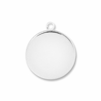 Silver Plated 20mm Round Pendant Cabochon Settings (5PK)