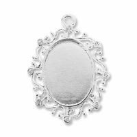 Antiqued Silver Plated 36x30mm Fancy Oval Cabochon Settings (1PC)