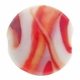 20mm White and Red Swirl Disc Lampwork Glass Beads (5PK)