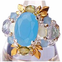 TOHO Elegant Jewelry Kits Glass Cubic and Leaf Ring