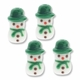 Snowman Green Hat 21mm Lampwork Glass Beads (4PK)
