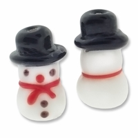 Snowman Black Hat 21mm Lampwork Glass Beads (4PK)