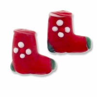 Red Stockings 19mm Lampwork Glass Beads (4PK)
