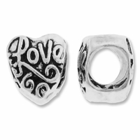 MIOVI™ Silver Plated Large Hole 11mm Love Heart Bead (1PC)
