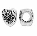 MIOVI� Silver Plated Large Hole 11mm Love Heart Bead (1PC)