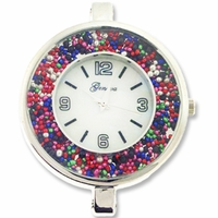 Silver Jumbo Confetti Beads Round Watch Face