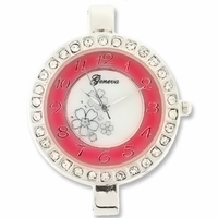 Silver Jumbo Fancy Pink Round Watch Face
