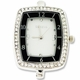 Silver Jumbo Fancy Black Rectangle Watch Face