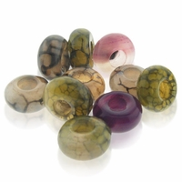 MIOVI™ Mixed Agate Gemstone 14x8mm Large Hole Beads (10PK)