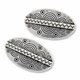 Antiqued Silver 36x22mm Thai Style Large Flat Oval Beads (2PK)
