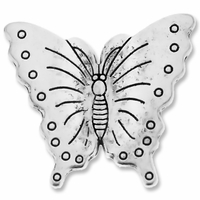 Antiqued Silver 31x28mm Thai Style Large Butterfly Beads (2PK)