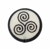 Celtic Swirl 20mm Round Flat Bone Bead (1PC)