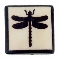 Dragonfly 25mm Square Flat Bone Bead (1PC)