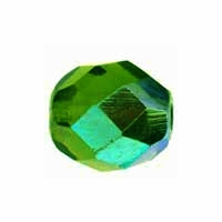 8mm Emerald AB Czech Fire Polished Round Glass Beads (25PK)