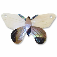 49mm Butterfly Shell w/ Black Lip Inlaid Pendant (1pc)