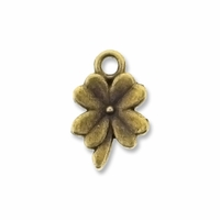 Antiqued Brass Four Leaf Clover Charm (10PK)
