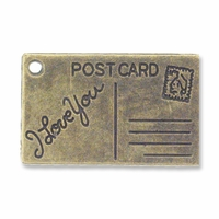 Antiqued Brass Post Card Charm (5PK)