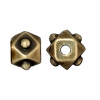Brass Oxide 6mm Faceted Cube Bead (1PC)