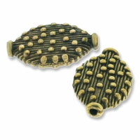 Antiqued Brass Flat Decorative Oval Bead (10PK)