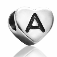 7mm Heart Letter A Bead