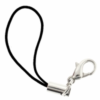Black Cell Phone Strap w/ 12mm Lobster Clasp (5 PK)