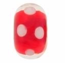 15mm Red w/White Dots Rondel Lampwork Beads (5PK)